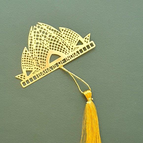 Bookmark - Brass metal cutting indian lotus temple